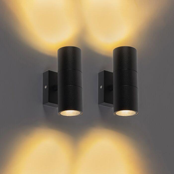 Set-van-2-buitenwandlampen-zwart-IP44---Duo