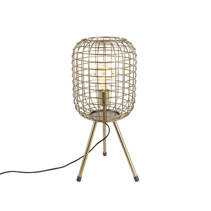 Moderne-tafellamp-tripod-messing---Barir