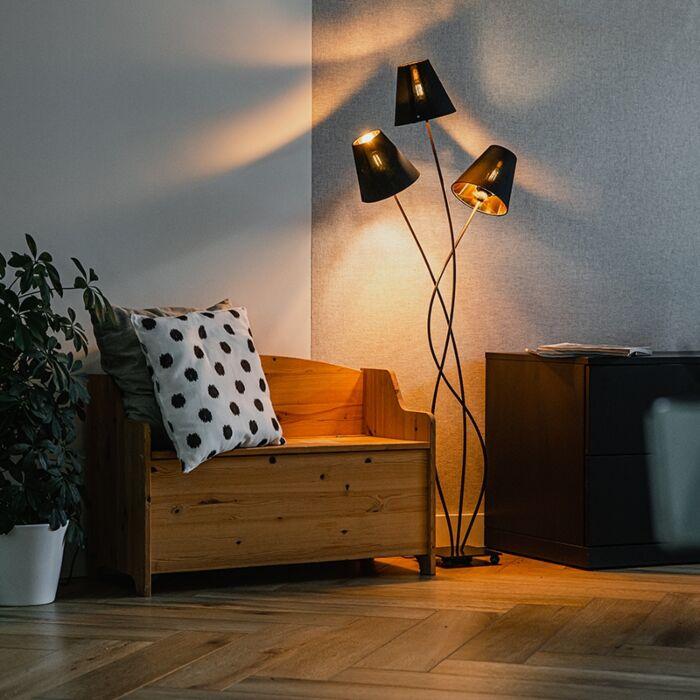 Design-vloerlamp-zwart-met-goud-3-lichts---Melis