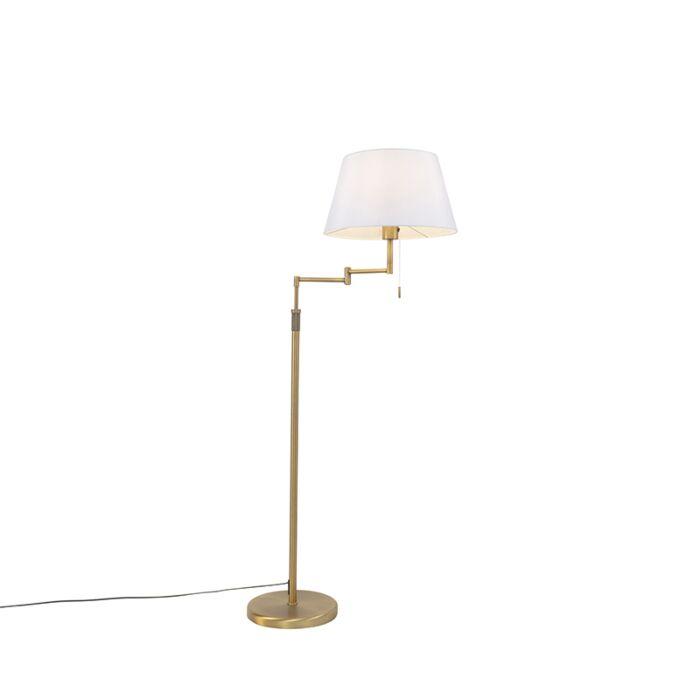 Vloerlamp-brons-met-witte-kap-en-verstelbare-arm---Ladas-Deluxe