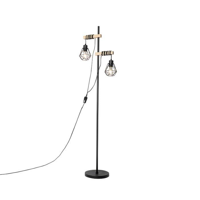 Landelijke-vloerlamp-zwart-met-hout-2-lichts---Chon