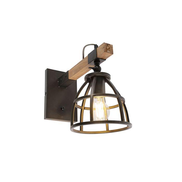 Industriële-wandlamp-zwart-met-hout-verstelbaar---Arthur