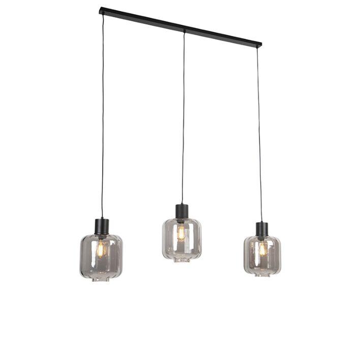 Design-hanglamp-zwart-met-smoke-glas-3-lichts-161,5-cm---Qara