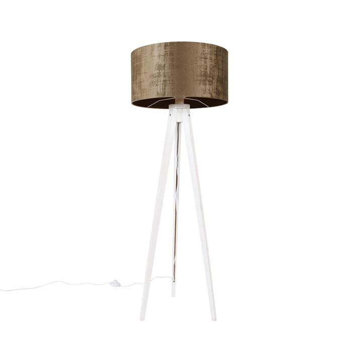 Moderne-vloerlamp-tripod-wit-met-kap-bruin-50-cm---Tripod-Classic