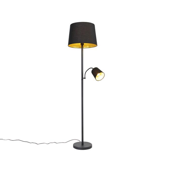 Klassieke-vloerlamp-zwart-met-goud-en-leeslampje---Retro