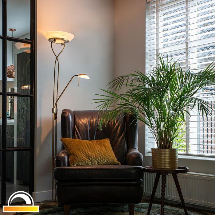Vloerlamp-brons-incl.-LED-en-dimmer-met-leeslamp---Empoli