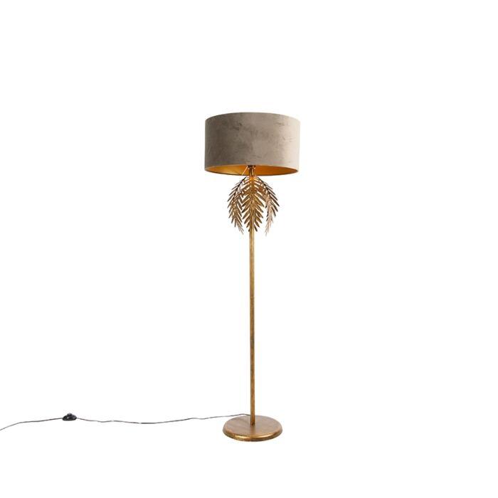 Vintage-vloerlamp-goud-met-velours-kap-taupe-50-cm---Botanica
