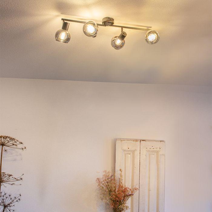 Art-Deco-plafondlamp-zwart-met-smoke-glas-4-lichts---Vidro