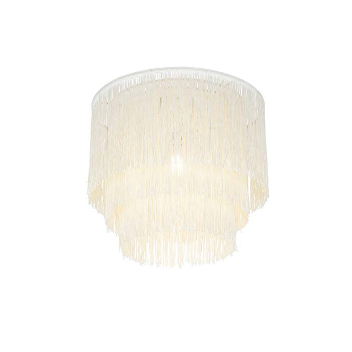 Oosterse-plafondlamp-goud-crème-kap-met-franjes---Franxa
