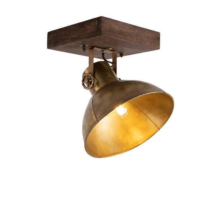 Industriële-plafondspot-brons-met-hout-30-cm---Mangoes
