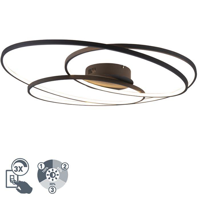 Plafonnière-zwart-80-cm-incl.-LED-3-staps-dimbaar---Rowin