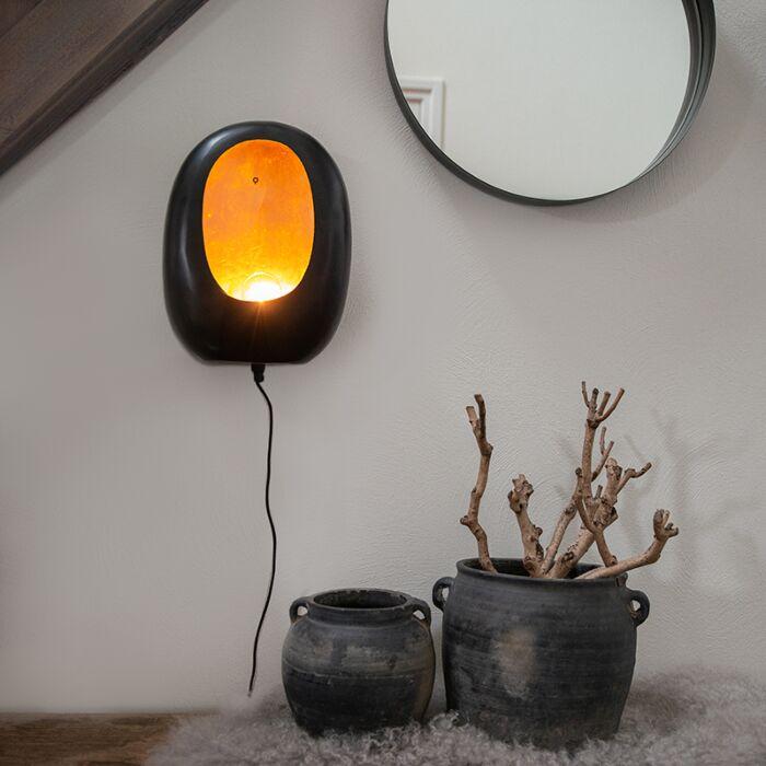 Design-wandlamp-zwart-met-gouden-binnenkant-36-cm---Cova