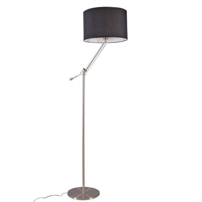Vloerlamp-Luzzi-staal-met-kap-zwart
