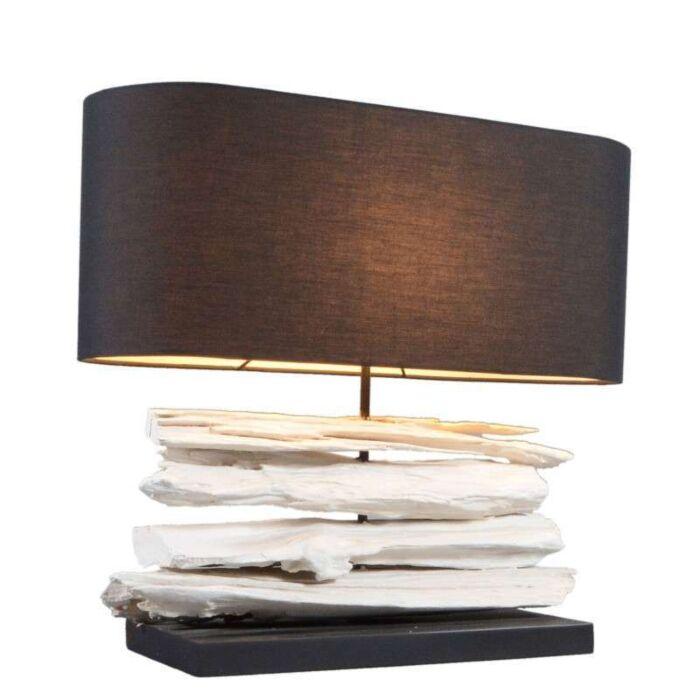 Tafellamp-Satun-medium-wit-met-kap-zwart