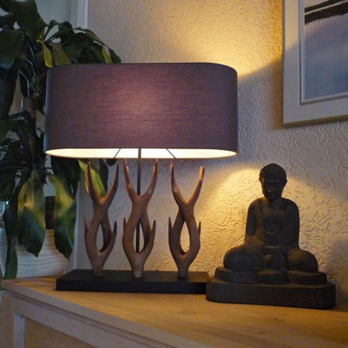 Landelijke-tafellamp-Yindee-Recta-met-bruine-kap