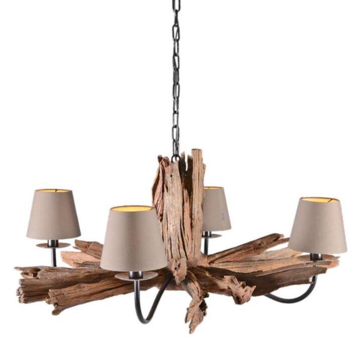 Hanglamp-Raman-4-natuur-met-kapjes-(ALLEEN-AF-TE-HALEN)