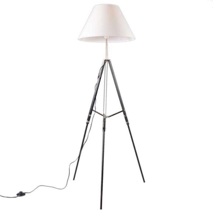 Vloerlamp-Tripod-zwart-met-kap-wit