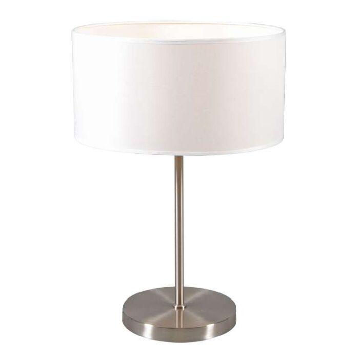 Tafellamp-Lugar-staal-met-kap-creme-wit