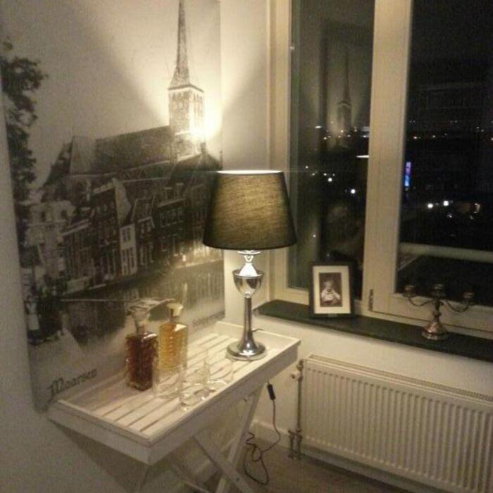 Tafellamp-Bagod-chroom-met-kap-zwart