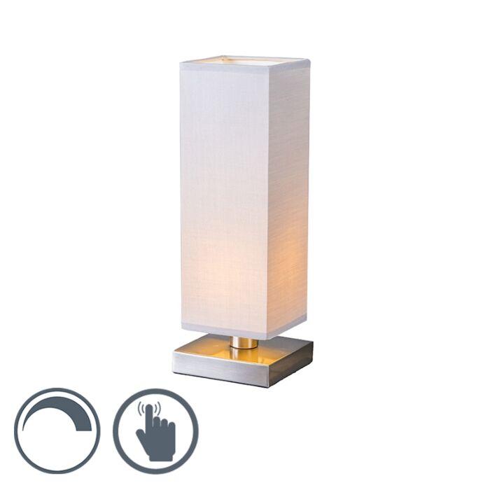 Tafellamp-Tower-Touch-staal-met-grijs