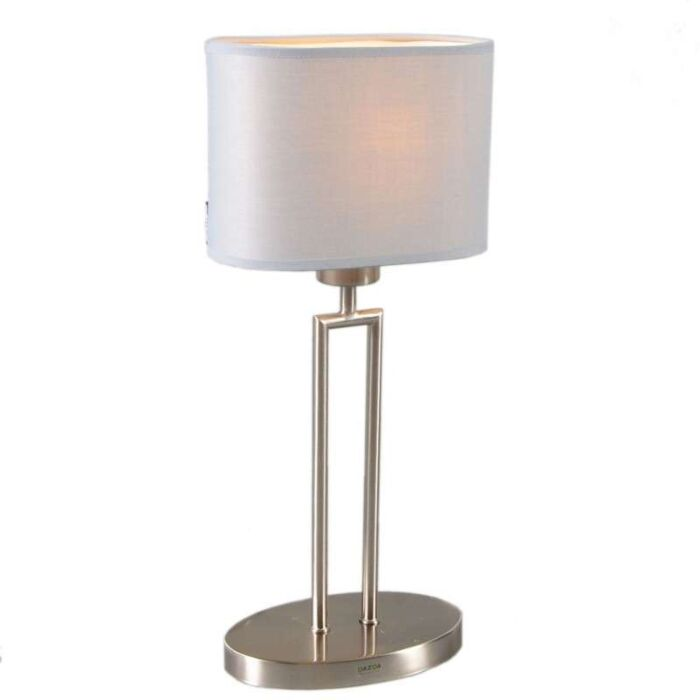 Tafellamp-Zadar-staal-met-ovale-kap-grijs