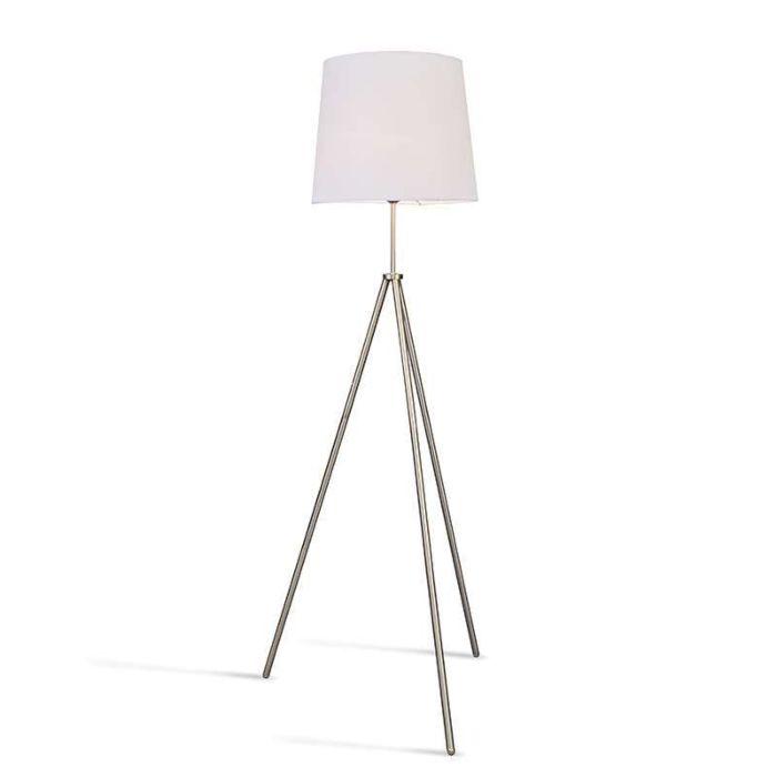 Vloerlamp-Tripode-staal-met-kap-wit