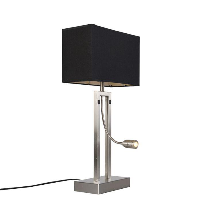 Tafellamp-Bergamo-staal-met-kap-zwart