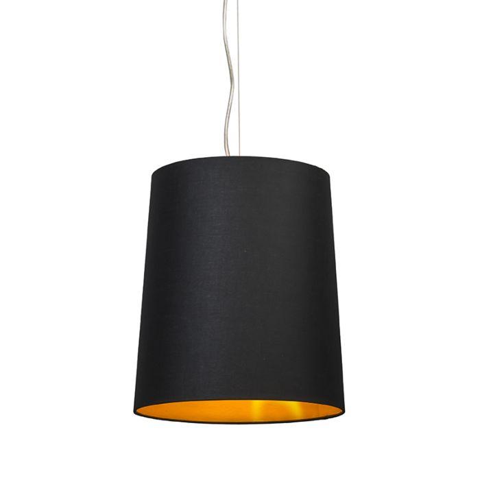 Hanglamp-Cappo-1-met-kap-zwart-met-gouden-binnenkant