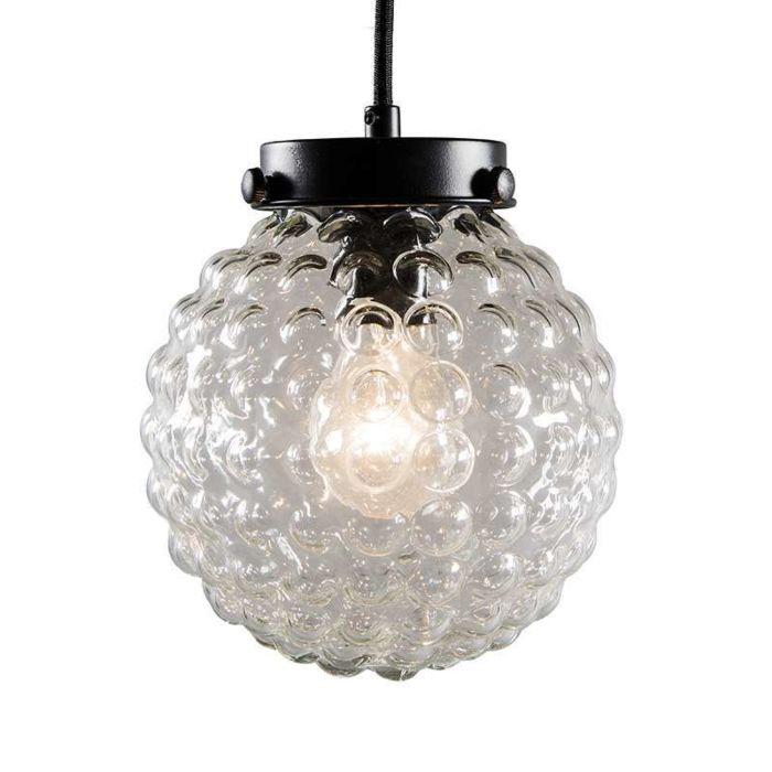 Hanglamp-Brufoli-zwart-met-helder-glas
