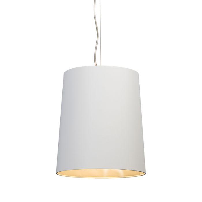 Hanglamp-Cappo-1-met-kap-wit-met-zilveren-binnenkant