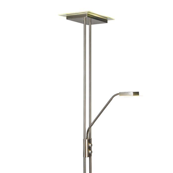 Uplighter-Jax-met-leeslamp-vierkant-staal