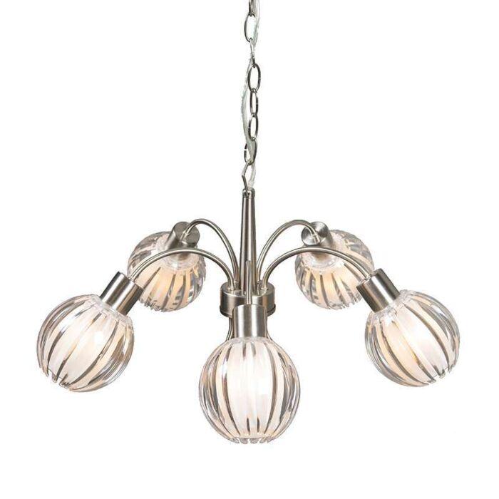 Hanglamp-Shine-5-lichts-staal-met-helder
