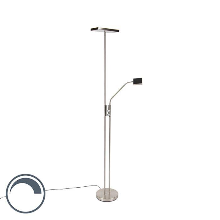 Moderne-vloerlamp-incl.-LED-en-dimmer-met-leeslamp---Uplighter-Jazzy
