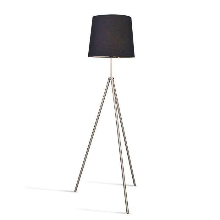 Vloerlamp-Tripode-staal-met-kap-zwart
