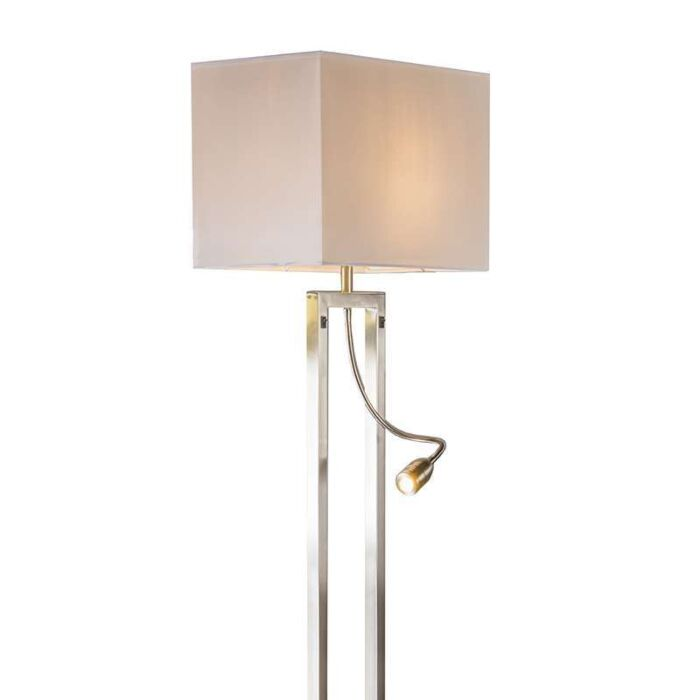Vloerlamp-Bergamo-staal-met-kap-creme-wit