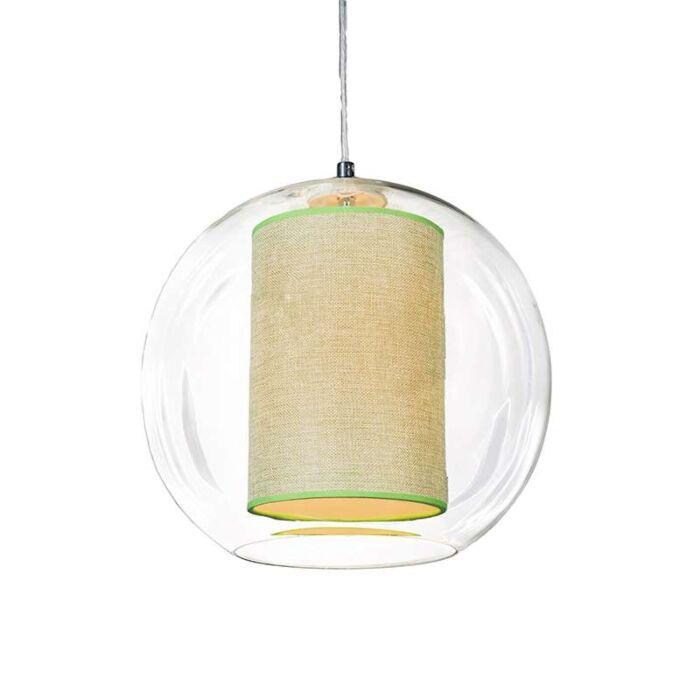 Hanglamp-Globe-30-met-kap-groen
