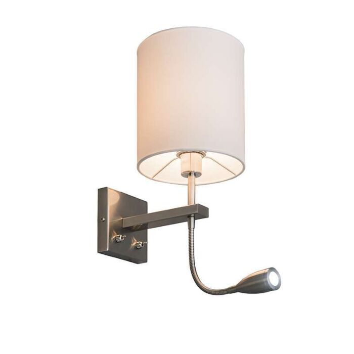 Wandlamp-Brescia-rond-staal-met-witte-kap