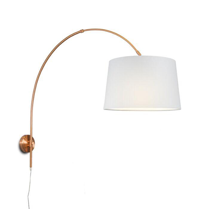 Wandbooglamp-mat-koper-met-kap-40cm-wit