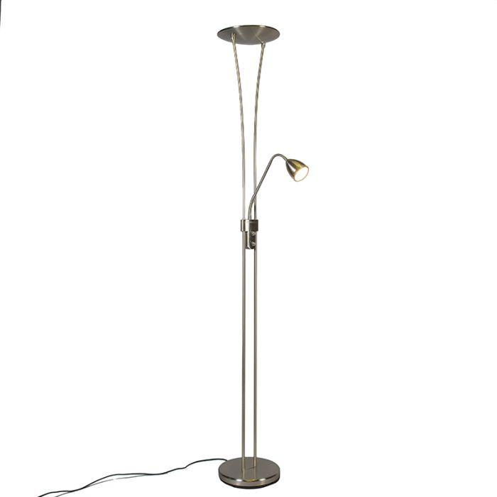 Uplighter-Jazz-2-met-leeslamp-LED-staal