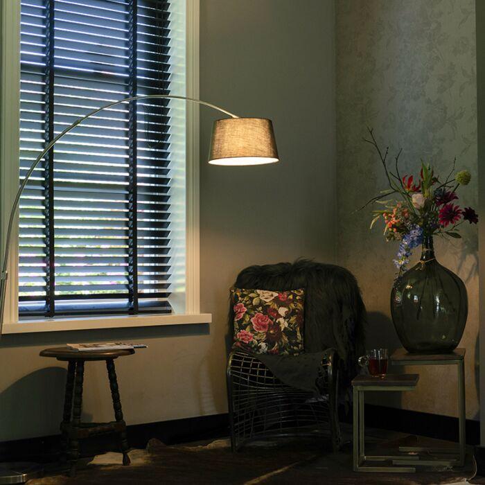 Moderne-booglamp-staal-met-zwarte-stoffen-kap---Arc-Basic