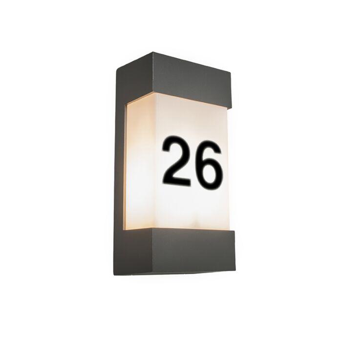 Buitenwandlamp-antraciet-met-huisnummer-IP54---Tide-V