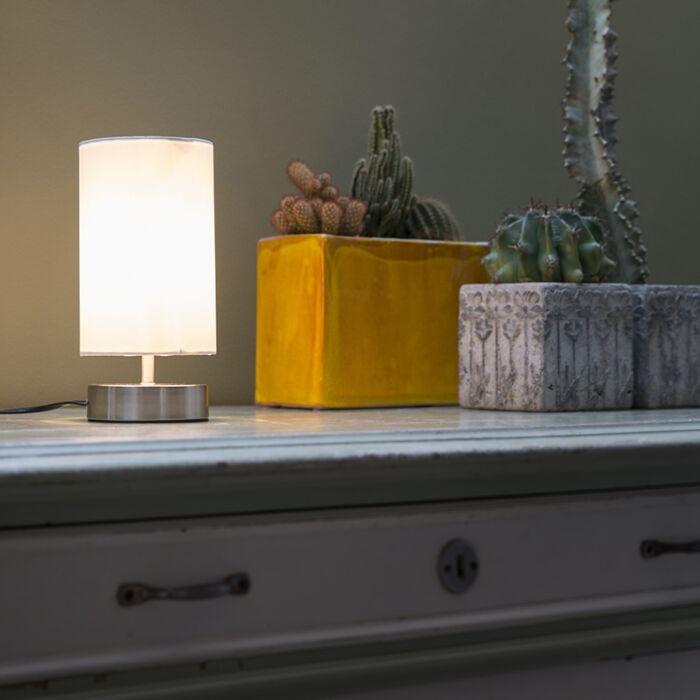 Moderne-tafellamp-wit-rond-12-cm-dimbaar---Milo-2