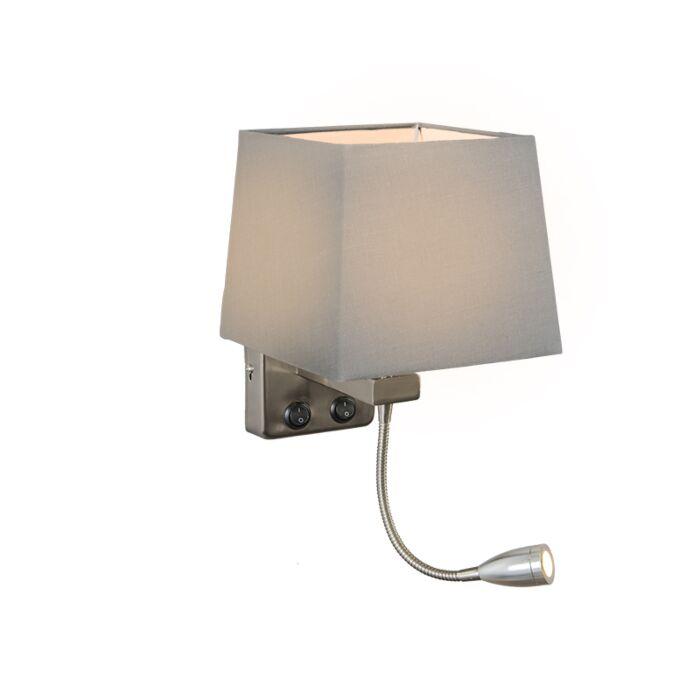 Wandlamp-Brescia-staal-met-kap-vierkant-grijs