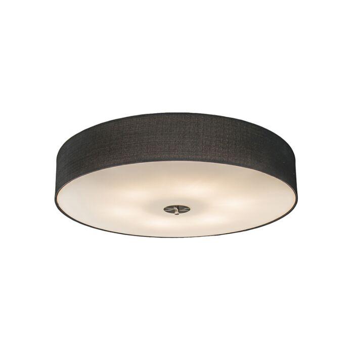 Landelijke-plafondlamp-zwart-70-cm---Drum-Jute