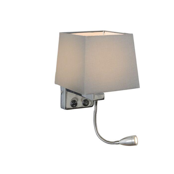 Wandlamp-Brescia-chroom-met-kap-vierkant-grijs