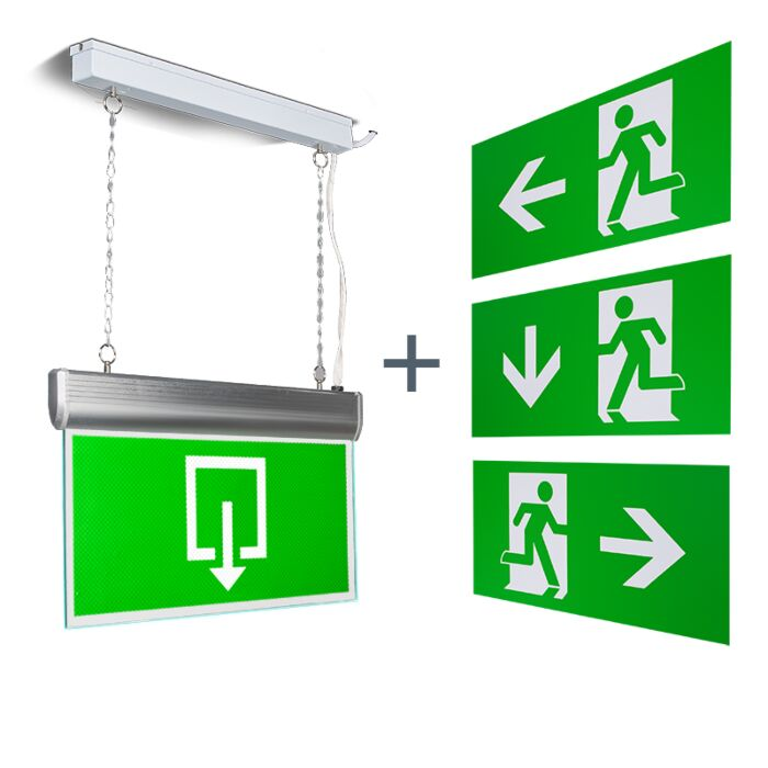 Moderne-rechthoekige-hanglamp-nooduitgang-incl.-LED---Emergency