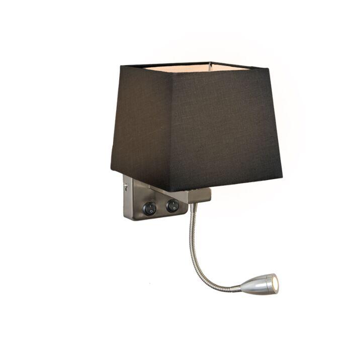 Wandlamp-Brescia-staal-met-kap-vierkant-zwart