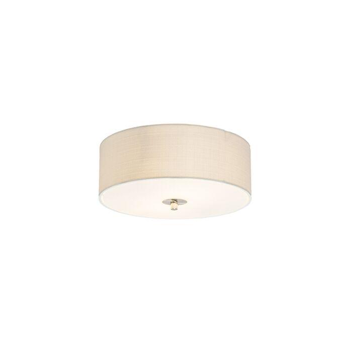 Landelijke-plafondlamp-wit/crème-30-cm---Drum-Jute
