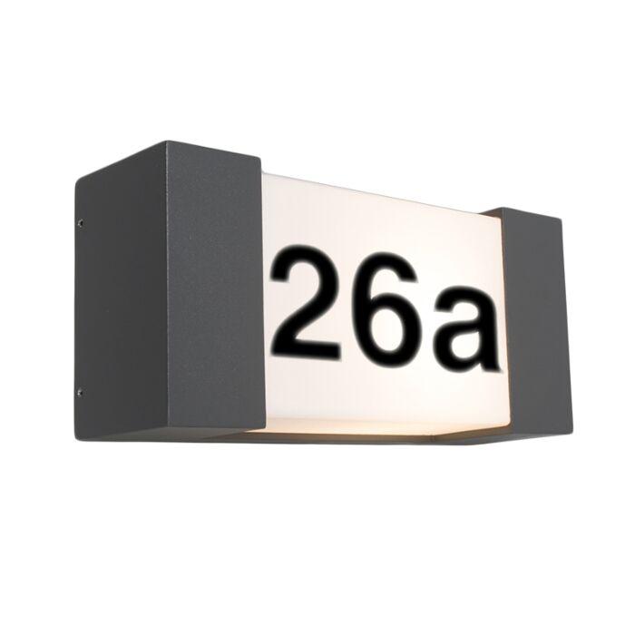 Buitenwandlamp-antraciet-met-huisnummer-IP54---Tide-H
