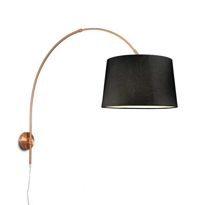 Wandbooglamp-mat-koper-met-kap-40cm-zwart